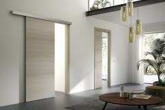 Porta interna scorrevole esterno e interno muro